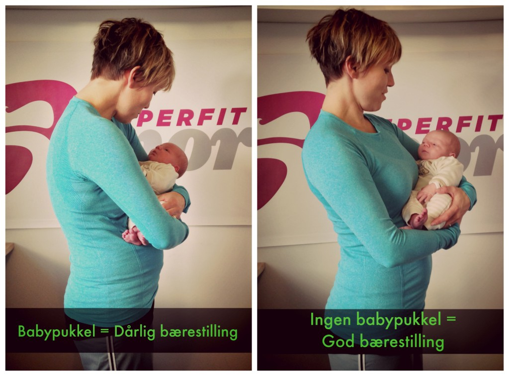 Instinktivt runder man ofte overkroppen sammen, når man bærer baby, men det er ikke godt for ryg, mavemuskler, skuldre og nakke.