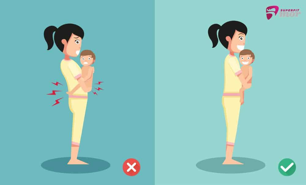 kropsholdning for en mor, der bærer baby