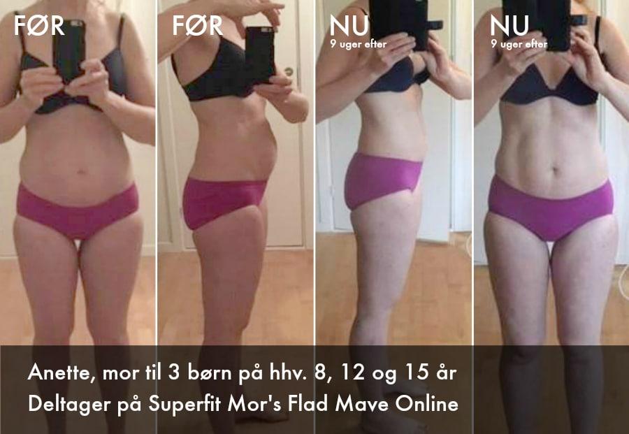 Deltager på Flad Mave Online viser sine flotte resultater med træningen.
