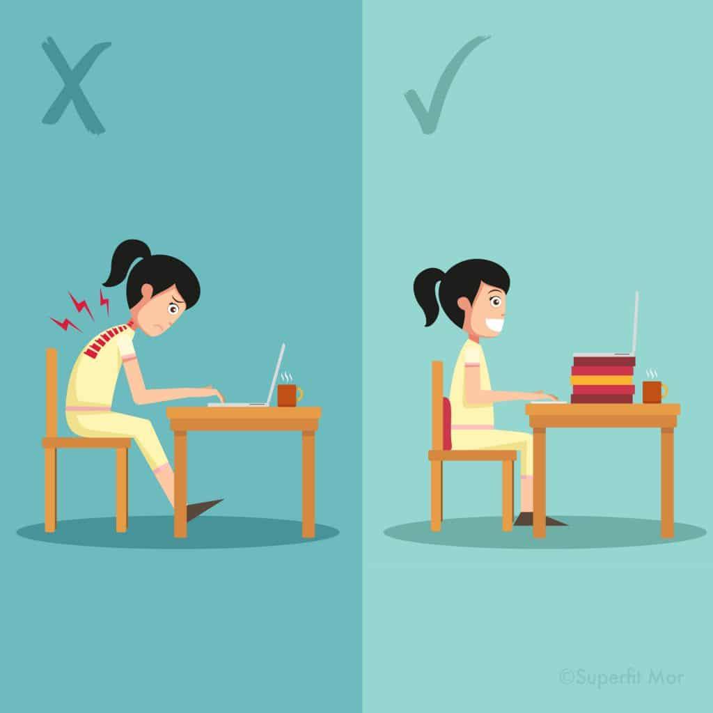 En god Kropsholdning er vigtig også ved skrivebordet.