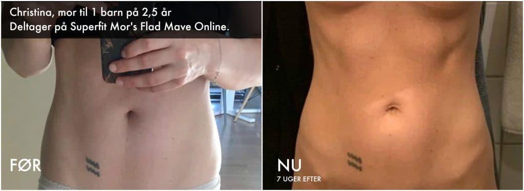 Mor viser sin flotte mave efter 7 ugers mavetræning med Flad Mave Online fra Superfit Mor