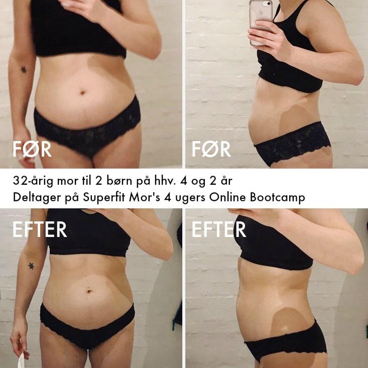 Mor til 2 viser sit flotte vægttab efter 4 uger med Superfit Mors Online Bootcamp